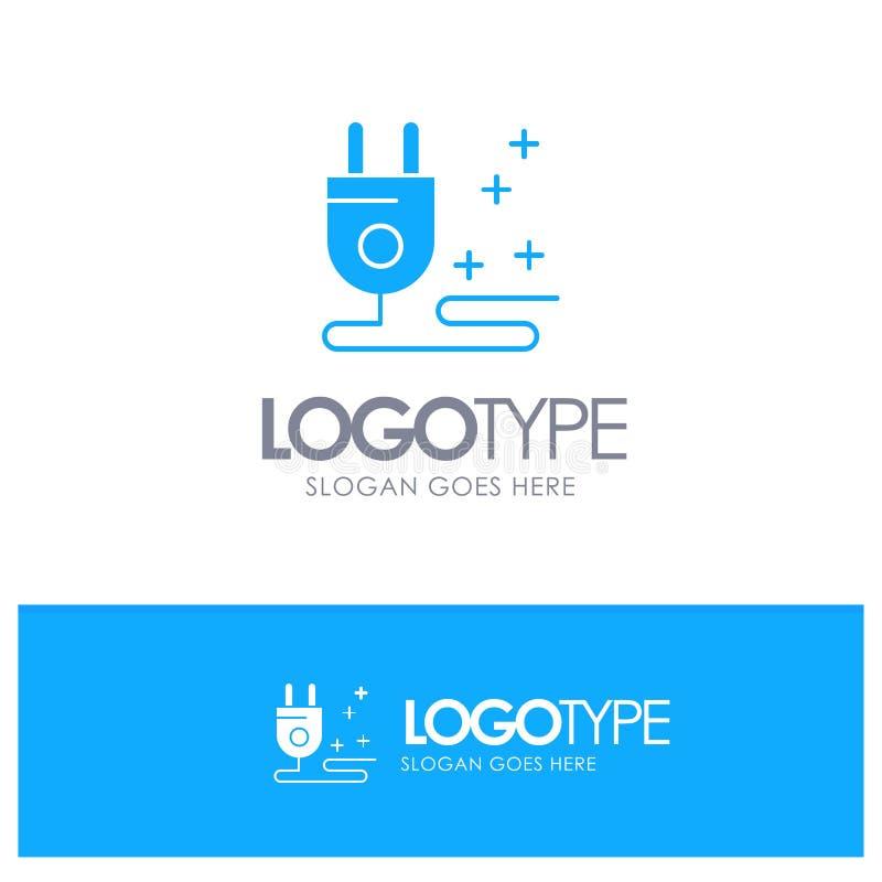 Штепсельная вилка, кабель, логотип маркетинга голубой твердый с местом для слогана иллюстрация штока
