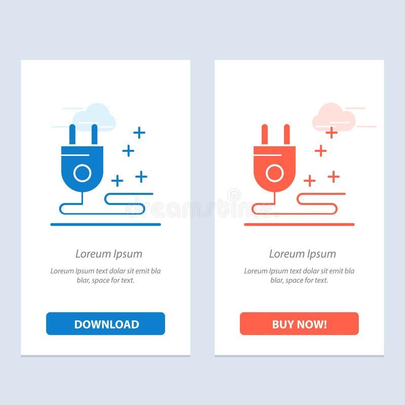 Штепсельная вилка, кабель, синь маркетинга и красная загрузка и купить теперь шаблон карты приспособления сети иллюстрация штока
