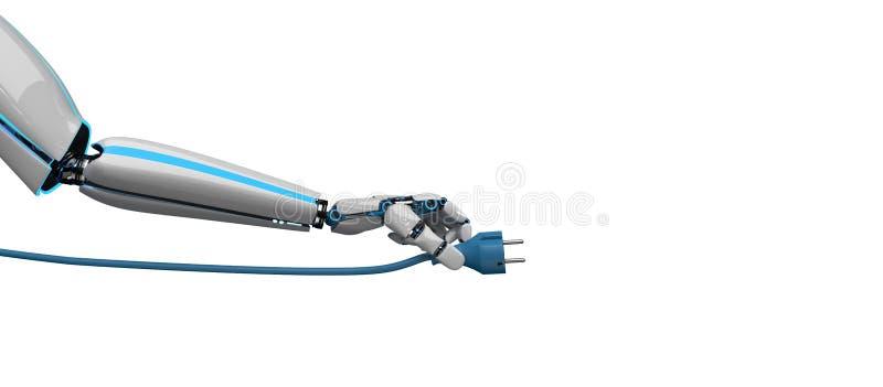 Штепсельная вилка руки робота иллюстрация штока