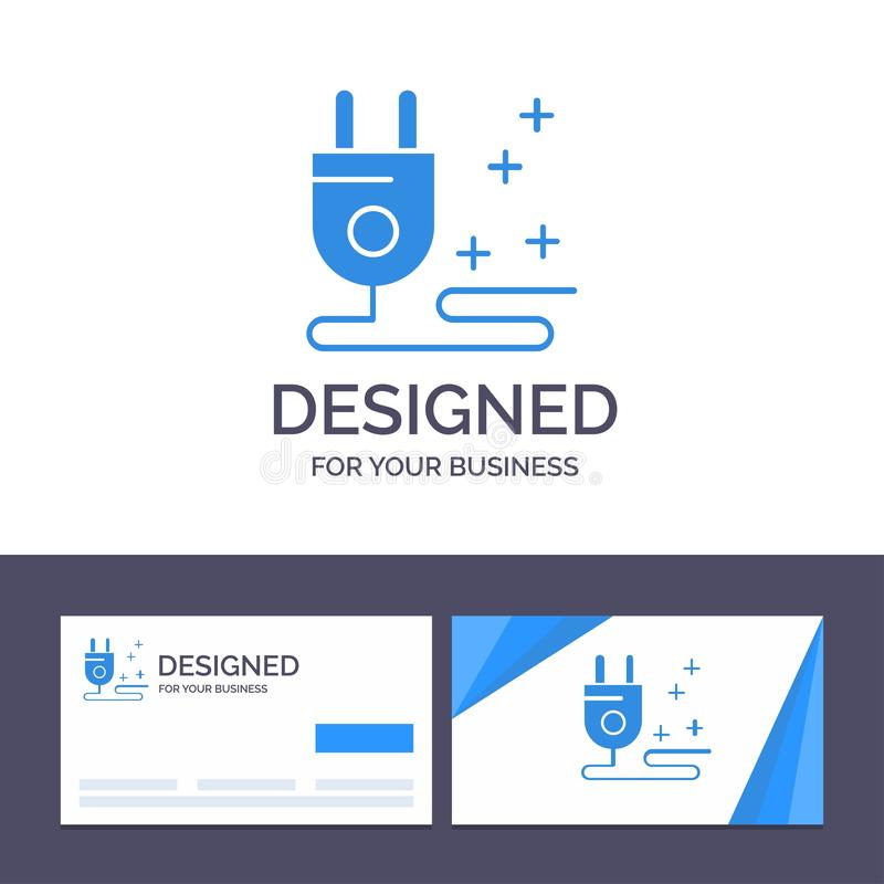 Штепсельная вилка творческого шаблона визитной карточки и логотипа, кабель, выходя на рынок иллюстрация вектора иллюстрация вектора