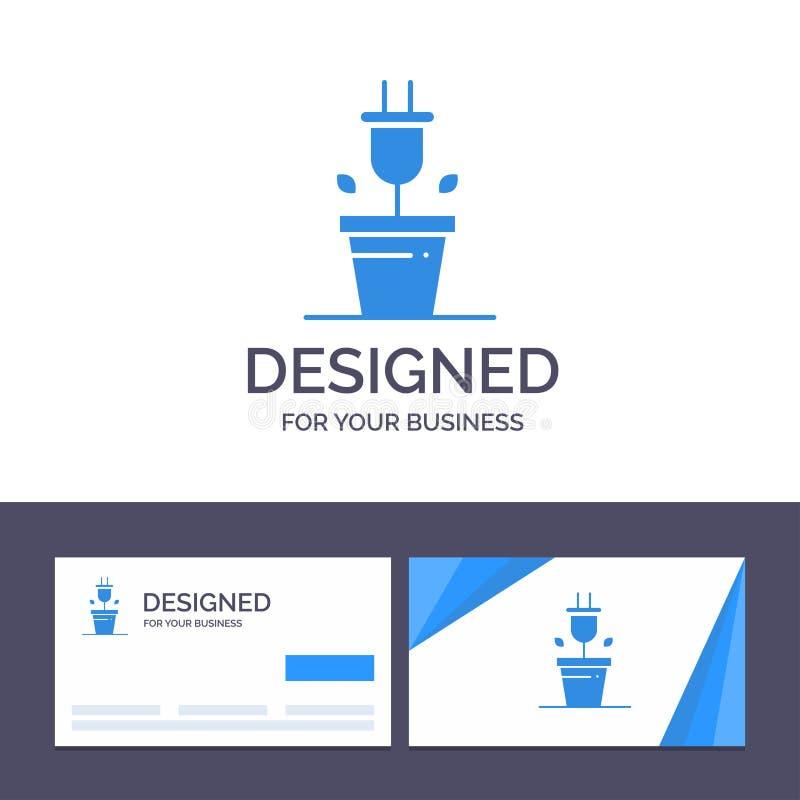 Штепсельная вилка творческого шаблона визитной карточки и логотипа, завод, иллюстрация вектора технологии иллюстрация штока