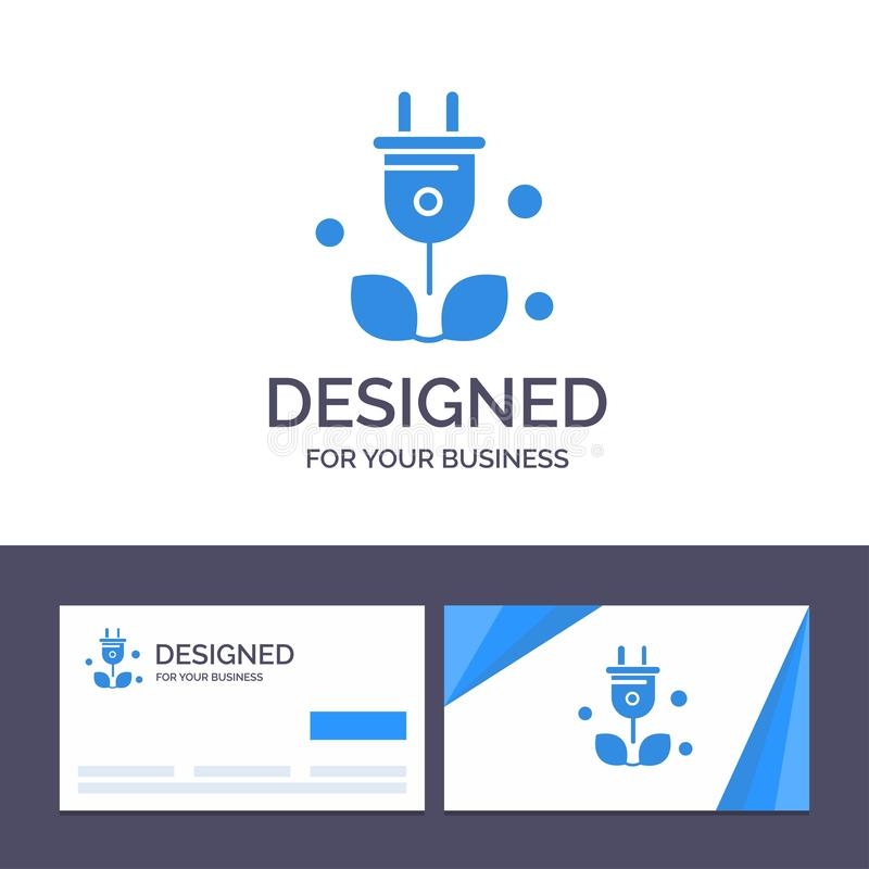 Штепсельная вилка творческого шаблона визитной карточки и логотипа, дерево, зеленый цвет, иллюстрация вектора науки иллюстрация штока