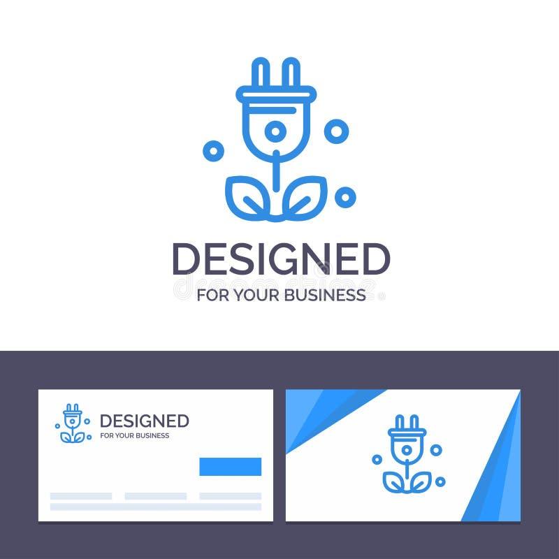 Штепсельная вилка творческого шаблона визитной карточки и логотипа, дерево, зеленый цвет, иллюстрация вектора науки иллюстрация вектора