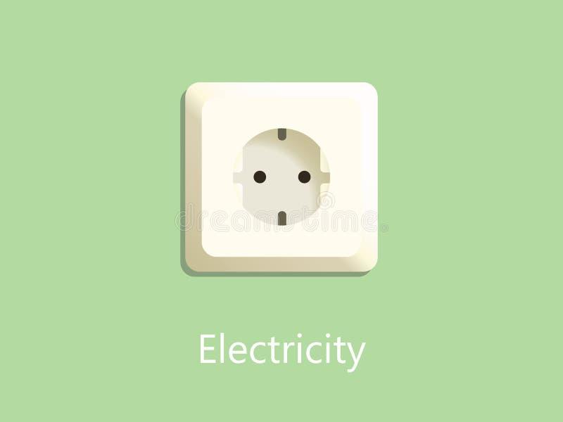 Штепсельная вилка гнезда электричества на зеленой предпосылке с текстом бесплатная иллюстрация