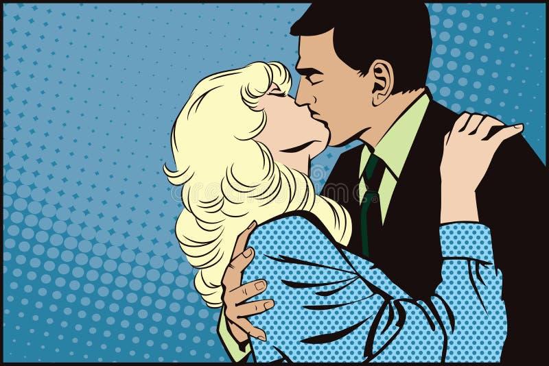 шток померанца иллюстрации предпосылки яркий Люди в ретро искусстве шипучки стиля и рекламе года сбора винограда целовать пар иллюстрация штока