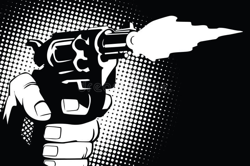 шток померанца иллюстрации предпосылки яркий Руки людей в стиле искусства шипучки и старых комиксов Оружие в руке иллюстрация штока