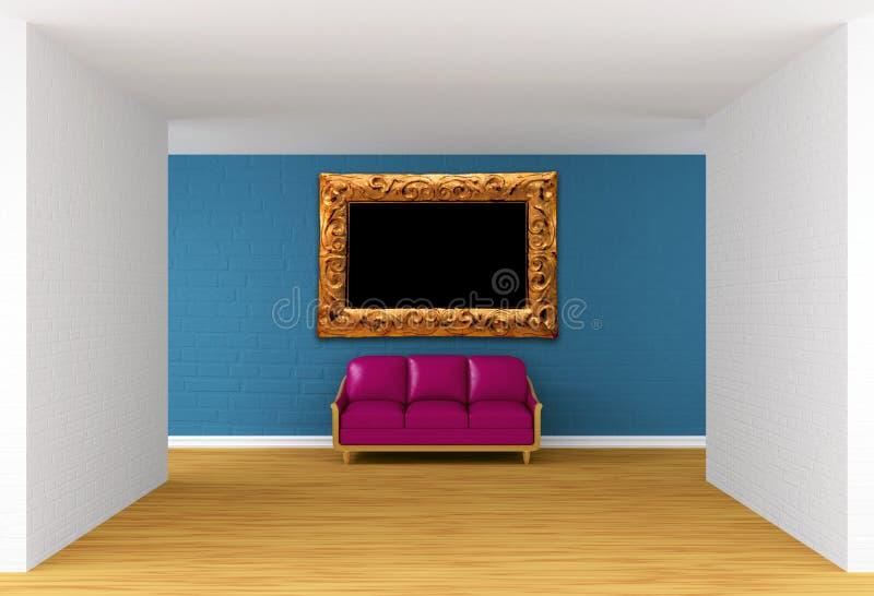 Штольн с пурпуровым креслом и богато украшенный рамкой стоковые фотографии rf