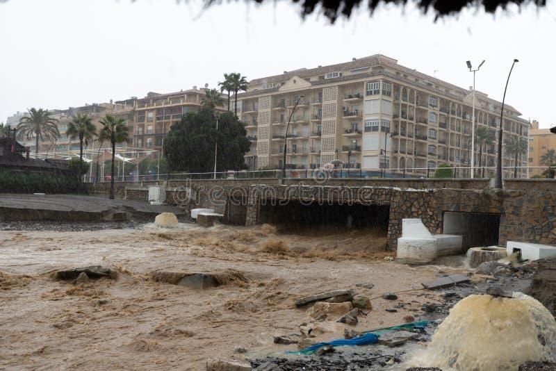 Штормы и flooding в Estepona стоковое фото rf