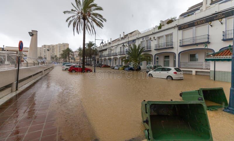 Штормы и flooding в Estepona стоковое изображение