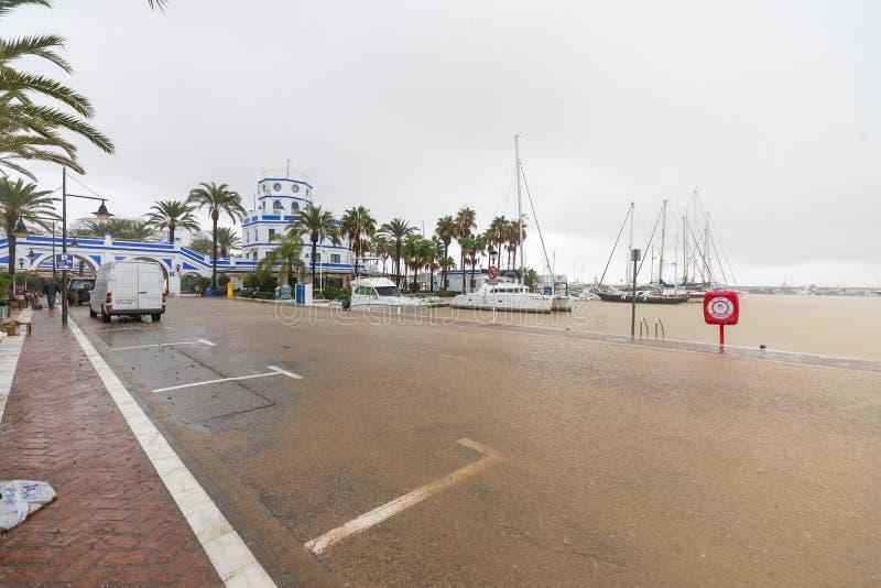 Штормы и flooding в Estepona стоковое изображение rf