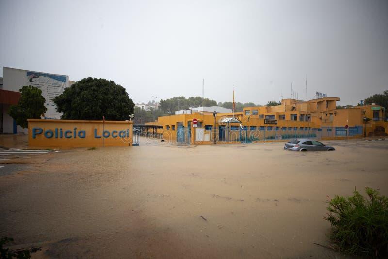 Штормы и flooding в Estepona стоковые фото