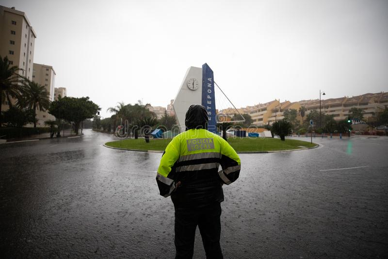 Штормы и flooding в Estepona стоковая фотография rf