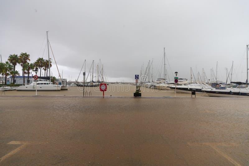 Штормы и flooding в Estepona стоковое фото