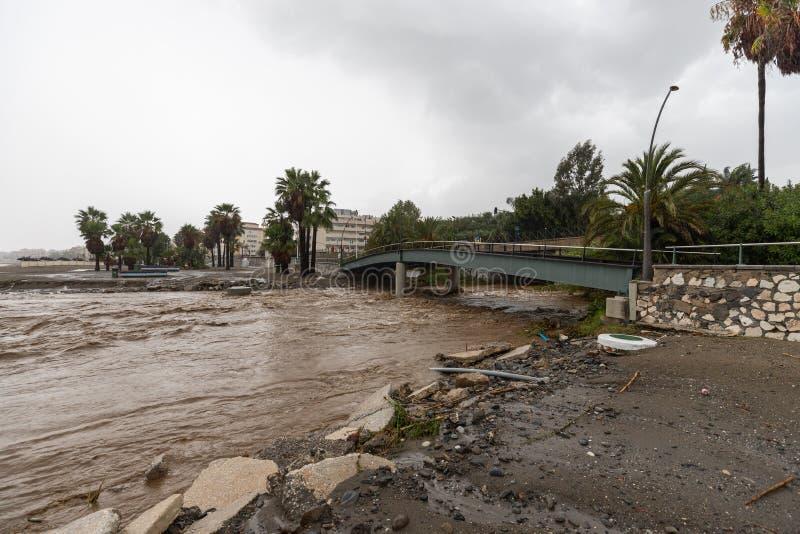 Штормы и flooding в Estepona стоковые изображения