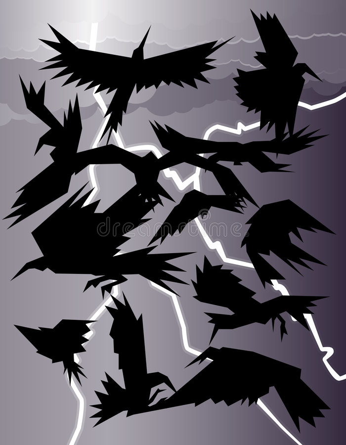 шторм ворон иллюстрация штока