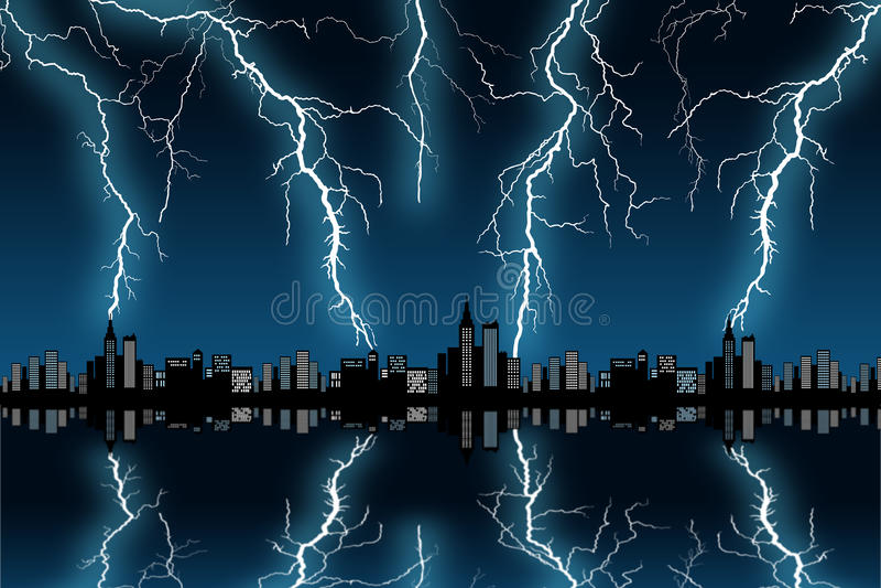 Шторм города иллюстрация вектора