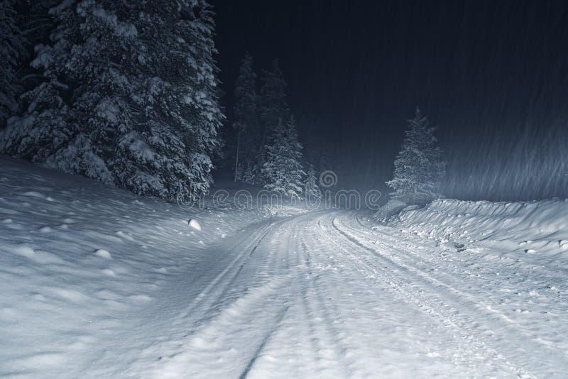 Шторм зимы на ноче стоковая фотография rf