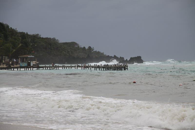 Шторм зимы на пляже стоковые фотографии rf