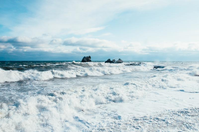 Шторм на Чёрном море Крыме стоковое фото rf