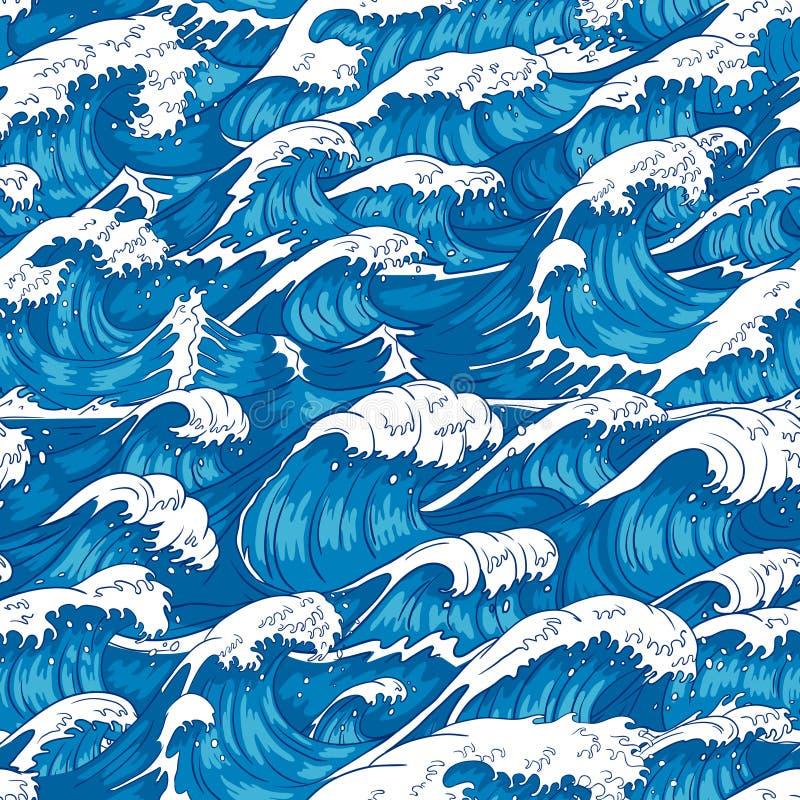Шторм развевает безшовная картина Свирепствуя вода океана, волна моря и винтажные японские штормы печатают иллюстрацию вектора иллюстрация штока