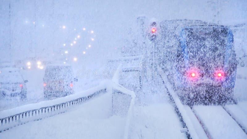 Шторм снега зимы, движение стоковое фото rf