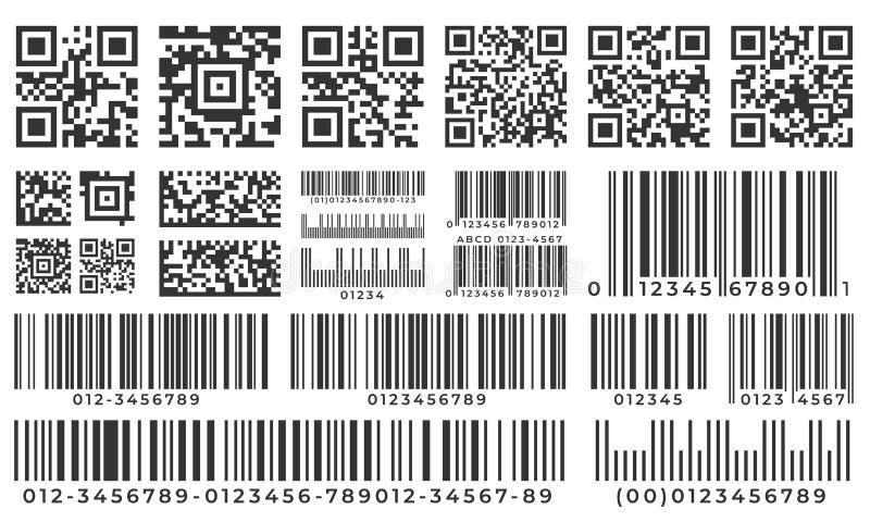 Штрихкоды Ярлык бара развертки, код qr и промышленный штрихкод Значок инвентаря продукта, стикер нашивки кодов и бары пакета иллюстрация вектора