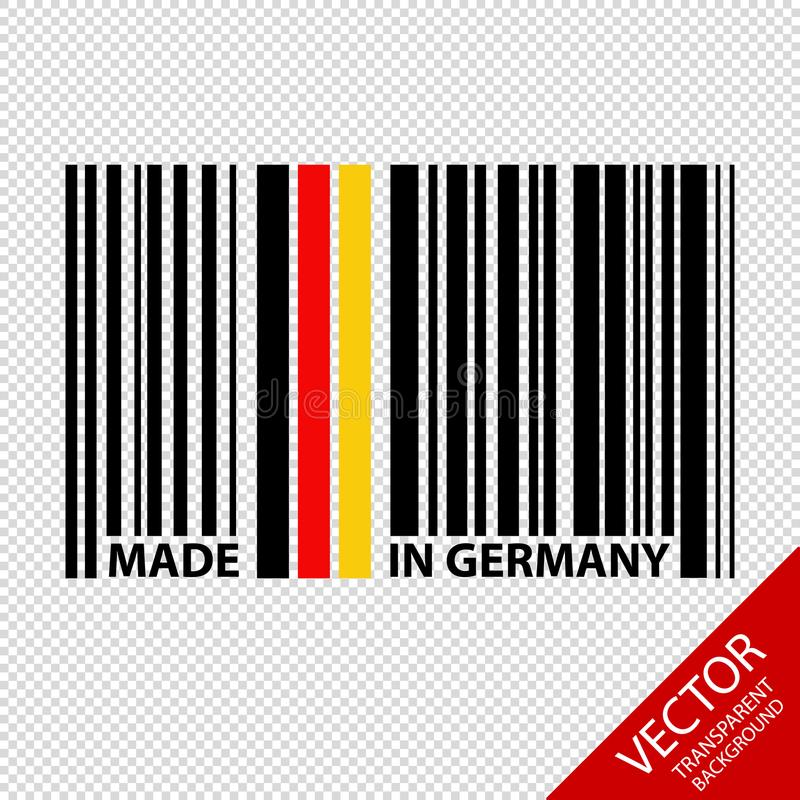 Штрихкод сделанный в изолированной Германии - иллюстрации вектора - на прозрачной предпосылке иллюстрация вектора