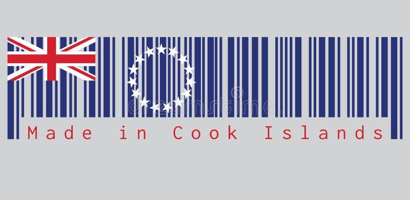 Штрихкод установил цвет Острова Кука сигнализирует, голубой ensign с кольцом звезды и Юнион Джек текст: Сделанный в Острова Кука бесплатная иллюстрация