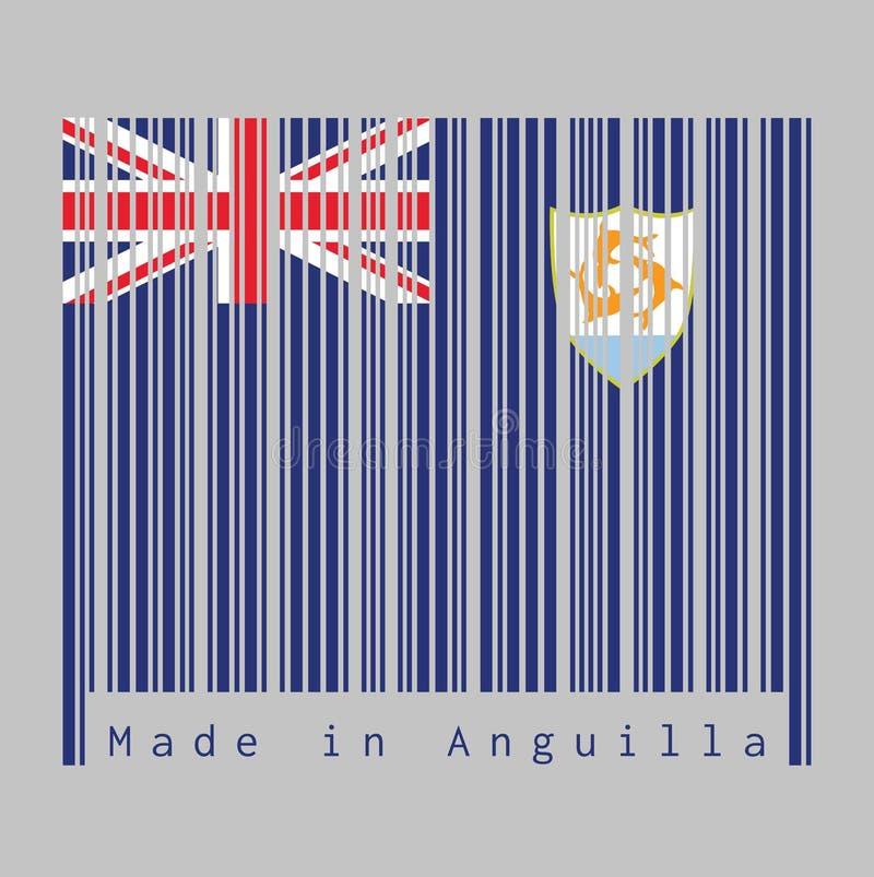 Штрихкод установил цвет флага Ангильи, голубого Ensign с великобританским флагом и герба Ангильи в мухе иллюстрация вектора