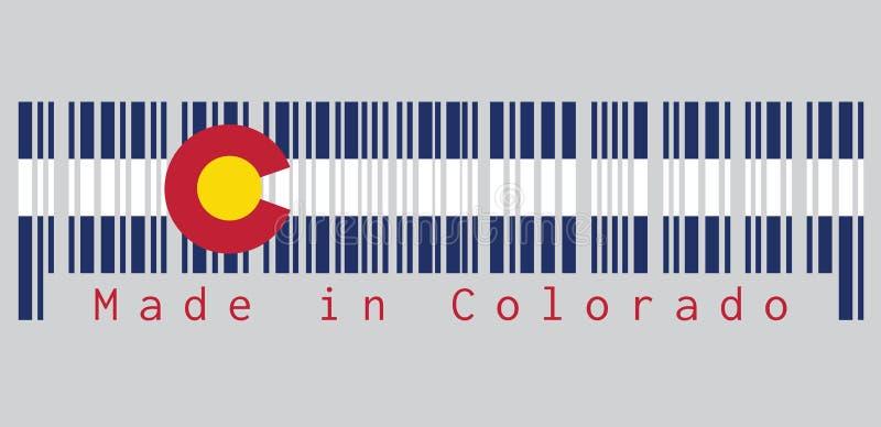 Штрихкод установил цвет флага Колорадо, 3 горизонтальных нашивок голубого, белого, и сини Na górze этих нашивок сидит циркуляр иллюстрация вектора