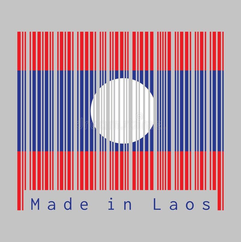 Штрихкод установил цвет флага Лаоса, голубого красного и белого цвета круга иллюстрация штока