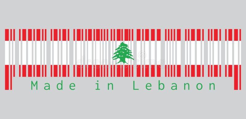 Штрихкод установил цвет флага Ливана, triband красной и белизну, порученное с зеленым кедром Ливана текст: Сделанный в Ливане иллюстрация вектора