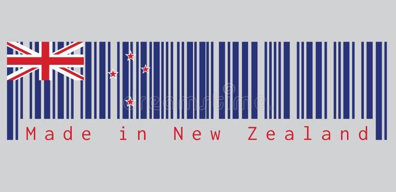 Штрихкод установил цвет флага Новой Зеландии, голубой Ensign с южным крестом 4 звезд иллюстрация штока