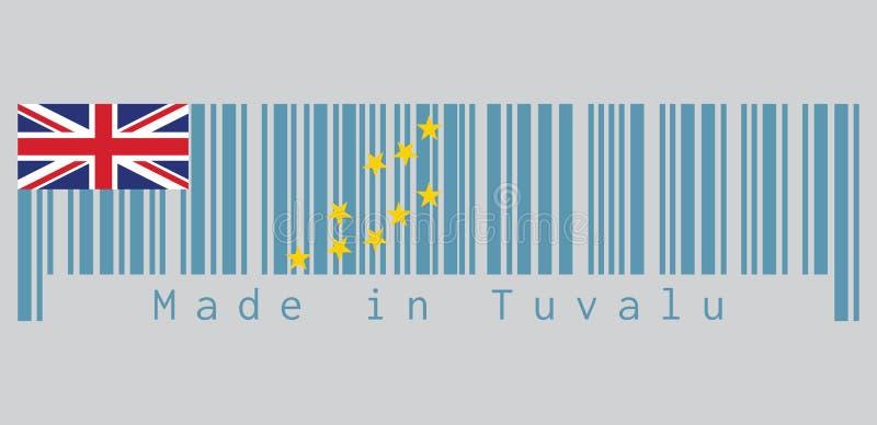 Штрихкод установил цвет флага Тувалу, свет - голубой Ensign с картой острова 9 желтых звезд текст: Сделанный в Тувалу иллюстрация вектора