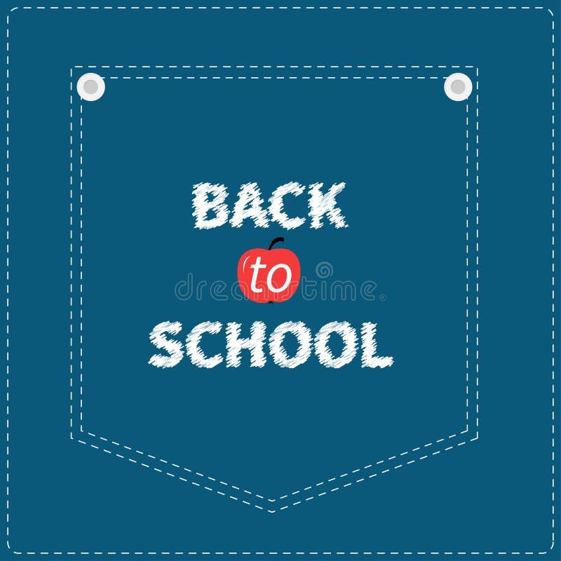 Штриховой пунктир голубых джинсов джинсовой ткани карманный задняя школа к бесплатная иллюстрация