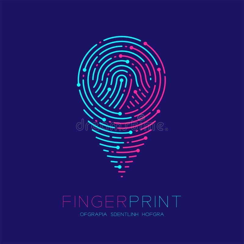 Штриховой пунктир логотипа картины развертки отпечатка пальцев формы значка навигатора GPS, цифровая концепция указателя карты, E иллюстрация вектора
