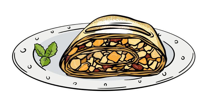 Штрудель яблока куска иллюстрация штока