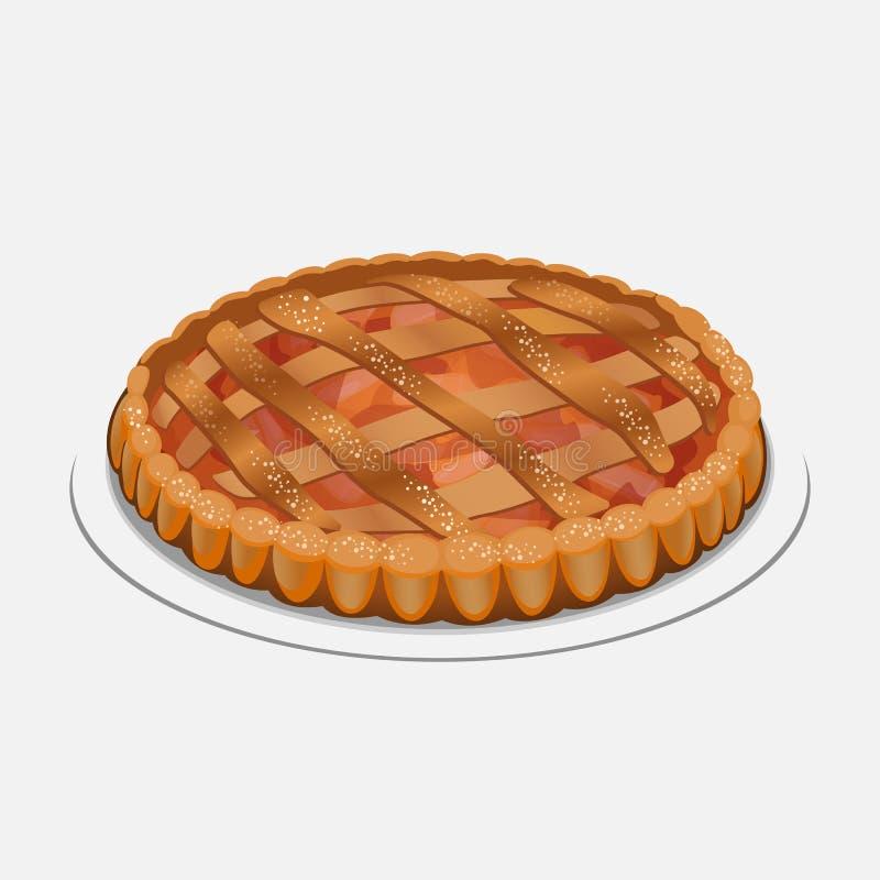 Штрудель Яблока, похожее на пирог блюдо сделанное с тестом, яблоками, сахаром, специями бесплатная иллюстрация