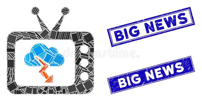 Штурм ТВ Прогноз Мозаик и Бедствие Прямоугольник Большие Новости Штамп печатают печатями иллюстрация вектора