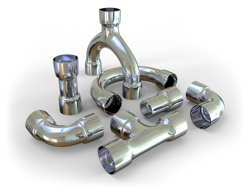 Штуцеры трубы металла иллюстрация вектора