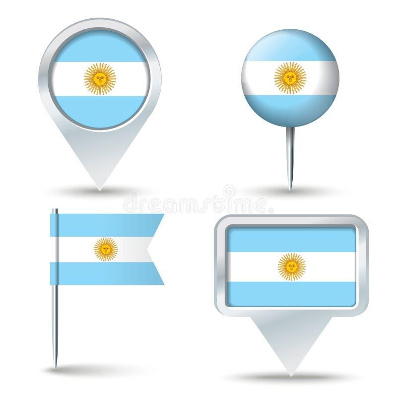 Штыри карты с флагом Аргентины иллюстрация вектора