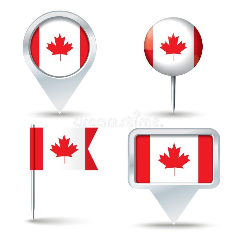 Штыри карты с флагом Канады иллюстрация штока