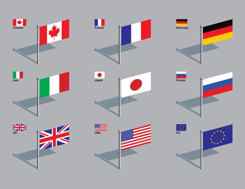 штыри флага g8 иллюстрация штока
