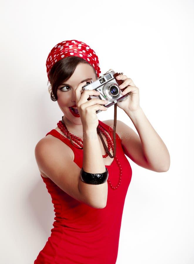 штырь девушки камеры вверх стоковое фото
