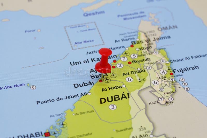 Штырь Дубай в карте стоковое фото rf