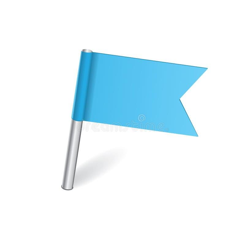 Штырь карты голубого флага иллюстрация вектора