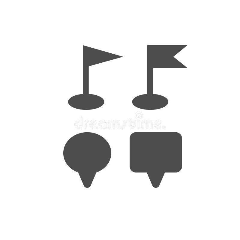 Штырь карты, флаги, отметки навигации значков путешествует знак gps на белизне иллюстрация вектора