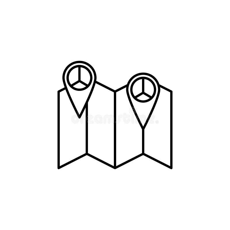штырь на значке карты мира Элемент значка мира для передвижных apps концепции и сети Тонкую линию штырь на значке карты мира можн бесплатная иллюстрация