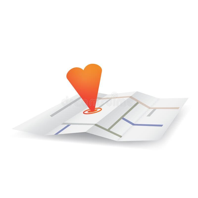 Штырь сердца на карте иллюстрация вектора