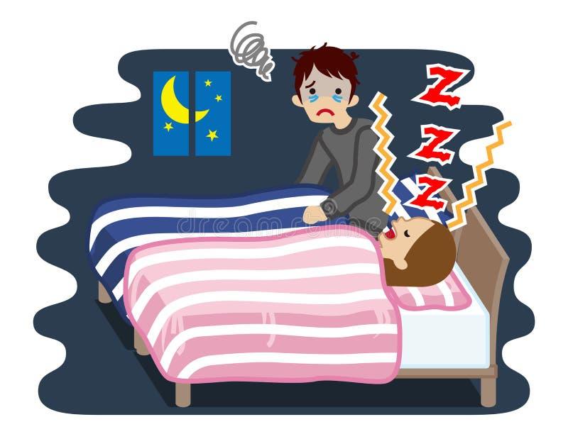 Шум его женой - проблема храпа страдания молодого человека сна бесплатная иллюстрация